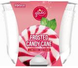 Glade Maxi Frosted Candy Cane s vôňou vanilkového krému a peprmintu vonná sviečka v skle, doba horenia až 52 hodín 224 g
