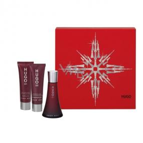 Hugo Boss Deep Red parfumovaná voda 50 ml + telové mlieko 50 ml + sprchový gél 50 ml, pre ženy darčeková sada