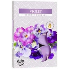 BISPOL Aura Violet - Fialka vonné čajové sviečky 6 kusov