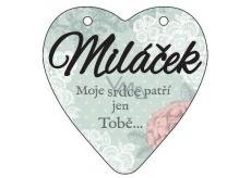 Albi Závěsná plaketka srdce Miláček 9 x 10 cm
