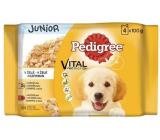 Pedigree Vital Protection Junior s kuracím mäsom a ryžou, s morčacím mäsom a ryžou v želé kapsička 4 x 100 g