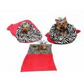 Marys pelech - vrece 3v1 je určený pre šteniatko, mačiatko, hlodavce alebo fretku XL 60 x 150 cm červená / zebra