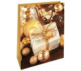 Nekupto Darčeková papierová taška 32,5 x 26 x 13 cm Vianočný zlatá darček WBL 1947 01