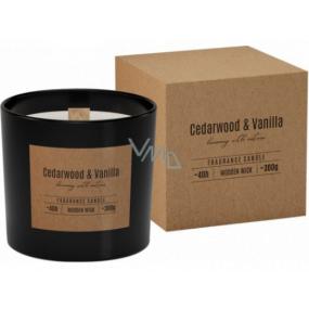 BISPOL Cedarwood & Vanilla - cédrové drevo a vanilka vonná sviečka s dreveným knôtom sklo 300 g