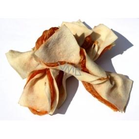 Salač Motýlik z byvolej kože s kuracím mäsom doplnkové krmivo pre psy a mačky 100 g