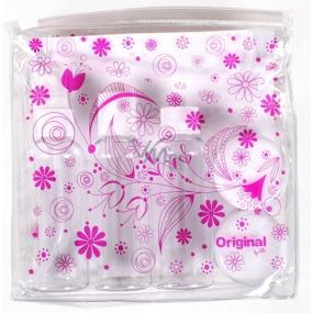 Albi Original Cestovná sada fľaštičiek 3 x 80 ml + 2 nádobky + Ružové kvety puzdro - 15 cm x 15 cm x 4,5 cm