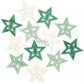 Hviezda drevená zeleno-prírodné 4 cm 12 kusov