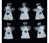 Anjeli zo skla sada 6 kusov s bielou sukňou so striebornými hviezdami 4,5 cm