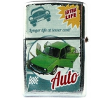 Bohemia Gifts & Cosmetics Retro zapalovač kovový benzínový s potiskem Zelené auto 5,5 x 3,5 x 1,2 cm