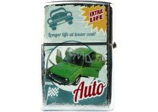 Bohemia Gifts Retro zapaľovač kovový benzínový s potlačou Zelené auto 5,5 x 3,5 x 1,2 cm