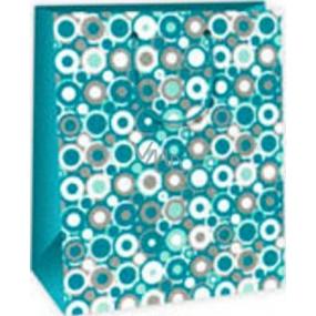 Ditipo Darčeková papierová taška 26,4 x 13,7 x 32,4 cm zeleno bielo šedá kolieska AB