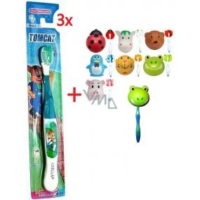 Abella Tomcat měkký zubní kartáček pro děti 3 kusy FA613 + Abella Kids Držák na zubní kartáček různé motivy 1 kus