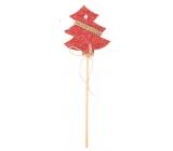 Stromček pletený červený zápich 6 cm + špajle