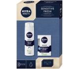 Nivea Men Sensitive Skin voda po holení pre mužov 100 ml + pena na holenie pre mužov 200 ml, kozmetická sada