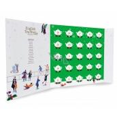 English Tea Shop Bio Adventný kalendár v tvare knihy zelený, 25 kusov pyramídiek sypaného čaju, 13 príchuťou, 50 g, darčeková sada