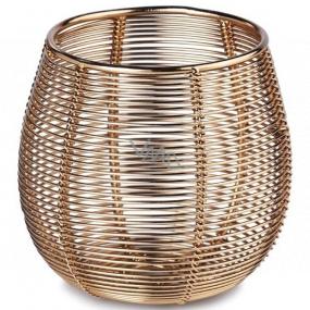 Svietnik na sviečku kovový zlatý 95 x 90 mm