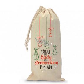 Nekupto Pytlík látkový na fľašu vianočné Vianoce ako od Lady pod stromčekom poklady biely 150 x 300 mm