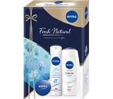 Nivea Fresh Natural Creme Soft sprchový gél 250 ml + dezodorant sprej 150 ml + krém 30 ml, kozmetická sada