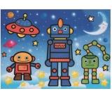 Maľovanie vodou sa štetcom Roboti 20 x 15 cm