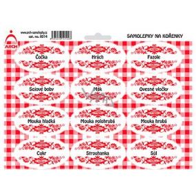 Arch Samolepky na kořenky s červeným ornamentem Čočka - základ v kuchyni (luštěniny, mouky,...) 0314