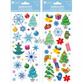 Samolepky vianočné farebné s glitrami 13 x 34,5 cm