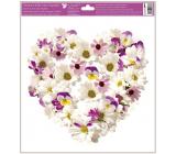 Okenné fólie bez lepidla Srdce z kvetov Kopretiny a sirôtky 30 x 33,5 cm