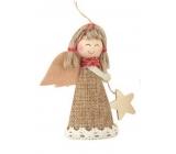Anděl jutový s hvězdou 8 cm č.1
