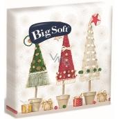 Big Soft Vianočné papierové obrúsky Stromčeky v kvetináči 33 x 33 cm 2 vrstvové 20 kusov