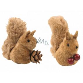 Veverička plyšová hnedá 7 cm na klipe 1 kus