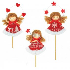 Zápich anjelik s červenobielym dekorom 8 cm + špajdle, 1 kus