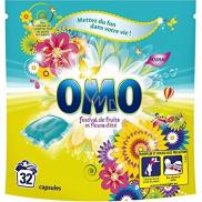 Omo Festival de Fruits Liquid Caps gélové kapsule na pranie farebného a bielej bielizne 32 dávok 841 g
