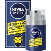Nivea Men Beard + Face hydratačný gél na tvár a fúzy 50 ml