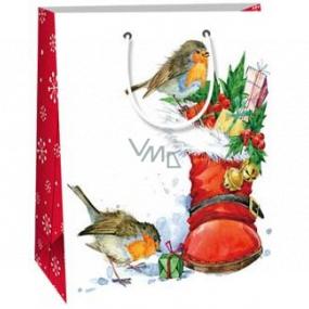 Ditipo Darčeková papierová taška 18 x 10 x 22,7 cm biela topánka s darčekmi vtáčiky C