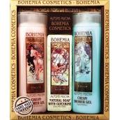 Bohemia Gifts & Cosmetics Alfons Mucha Šípky a růže krémový sprchový gel 200 ml + med a obilí krémový sprchový gel 200 ml + aquaminerály toaletní mýdlo 120 g, kosmetická sada