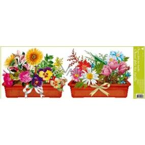 Room Decor Okenné fólie bez lepidla pruh truhlíkové kvety dva hrantíky 60 x 22,5 cm