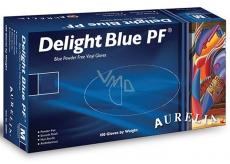 Aurelia Delight Blue PF jednorázové vinylové rukavice bez pudru velikost S box 100 kusů