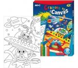 Amos Rámček s plátnom Vesmír + krajony 8 farieb 28 x 20 cm + darček