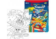 Amos Rámeček s plátnem Vesmír + krajony 8 barev 28 x 20 cm + Dárek