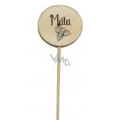 Bohemia Gifts & Cosmetics Dřevěný zápich k bylinkám s potiskem - Máta průměr kolečka je 5 - 8 cm