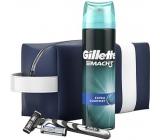 Gillette Mach 3 holiaci strojček + 2 náhradné hlavice + Comfort gél na holenie 200 ml + etue kozmetická sada pre mužov