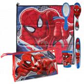 Marvel Spiderman Hygienický set plastový téglik, hrebeň na vlasy, držiak na zubnú kefku, uterák (40 x 40 cm) a taštičku