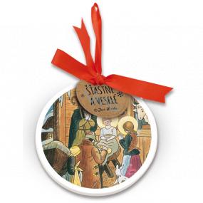 Nekupto Keramická ozdoba guľatá Josef Lada Betlehem 9 cm