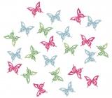 Dřevění motýli zelená, modrá, růžová 2 cm 24 kusů