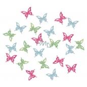 Motýli dřevění zelená, modrá, růžová 2 cm 24 kusů