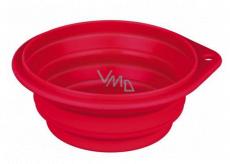Trixie Miska cestovné, silikónová, skladacie červená, priemer 14 cm, 0,5 l