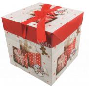 Darčeková krabička skladacia s mašľou Vianočné s darčekmi a perníčky 10,5 x 10,5 x 10,5 cm