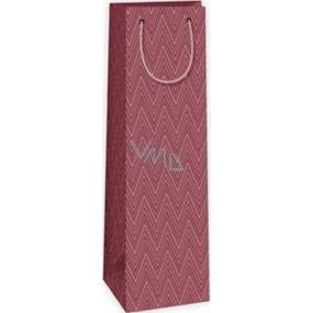 Ditipo Darčeková papierová taška na fľašu 12,3 x 7,8 x 36,2 cm bordó geometrický vzor