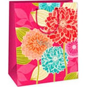 Ditipo Darčeková papierová taška 26,4 x 13,7 x 32,4 cm ružová veľké kytky AB