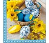 Aha Veľkonočné papierové obrúsky 3 vrstvové 33 x 33 cm 20 kusov košík, modré kraslice, narcicy
