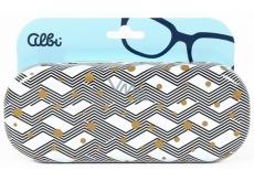 Albi Original Puzdro na okuliare plechové Cikcak so zlatými bodkami 15,7 x 6,2 x 3,2 cm